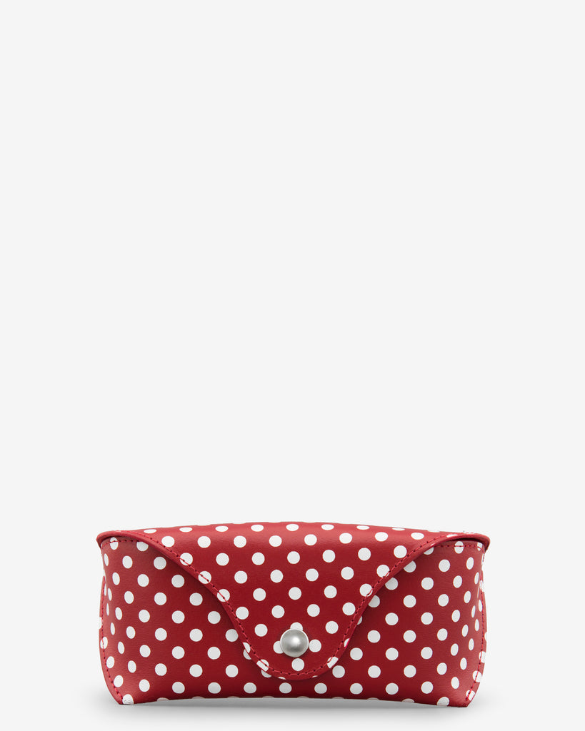 Red Leather Polka Print Glasses Case - Yoshi