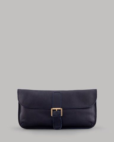 Reynolds Navy Leather Clutch Shoulder Bag For Ladies By Yoshi