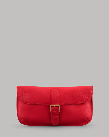 Reynolds Red Leather Clutch Shoulder Bag For Ladies By Yoshi