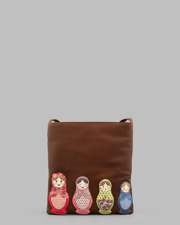 Russian Dolls Brown Leather Cross Body Bag A