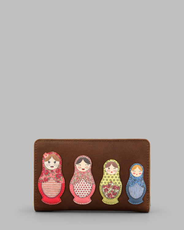 Russian Dolls Brown Leather Flap Over Zip Round Purse A