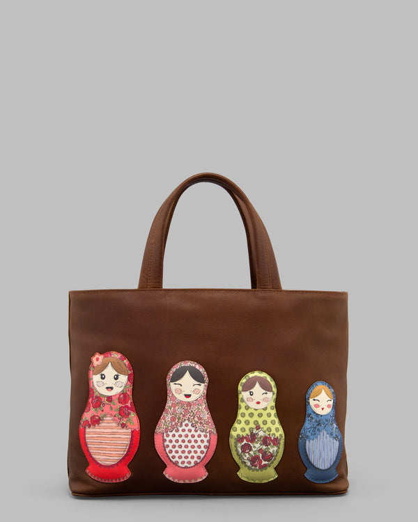 Russian Dolls Brown Leather Grab Bag A