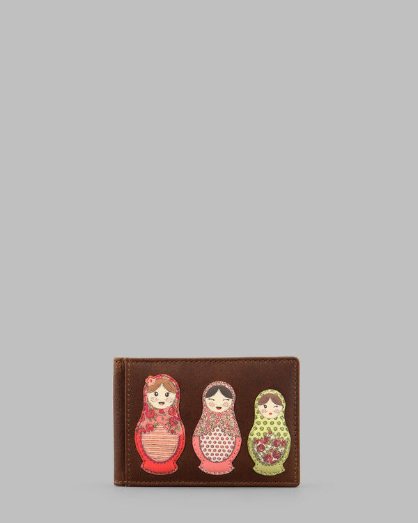 Russian Dolls Brown Leather Travel Pass Holder A