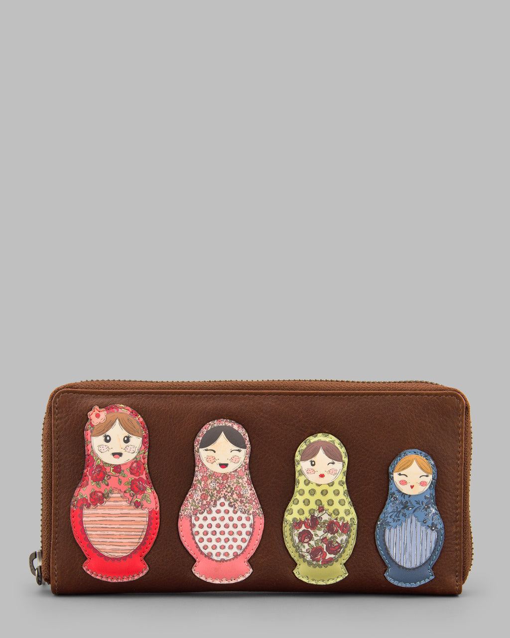 Russian Dolls Brown Leather Zip Round Purse A