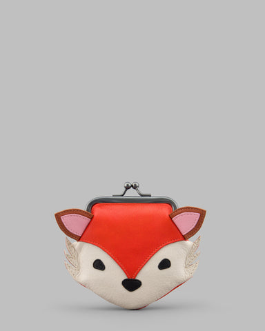 Rusty the Fox Leather Clip Top Frame Purse a