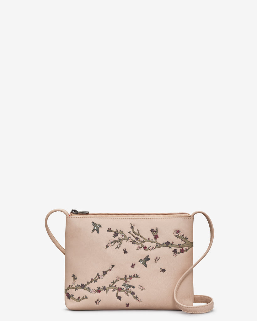 Sakura Cherry Blossom Frappe Leather Cross Body Bag - Frappe - Yoshi
