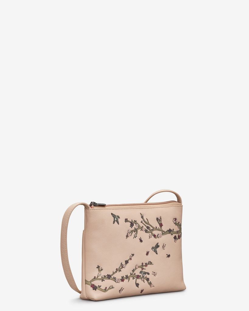 Sakura Cherry Blossom Frappe Leather Cross Body Bag -  - Yoshi