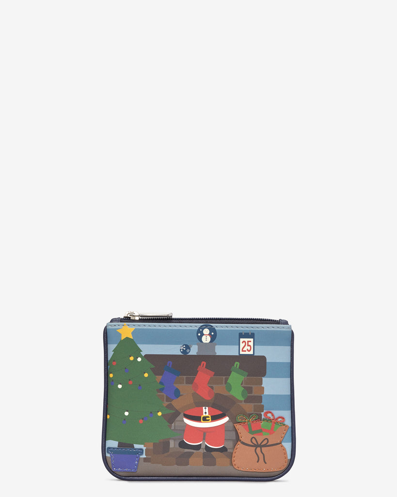 Santa Stuck Up Chimney Zip Top Leather Purse - Navy - Yoshi
