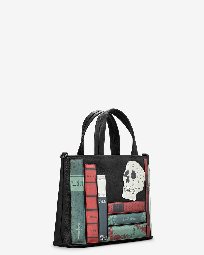 Shakespeare Bookworm Black Leather Multiway Grab Bag - Yoshi