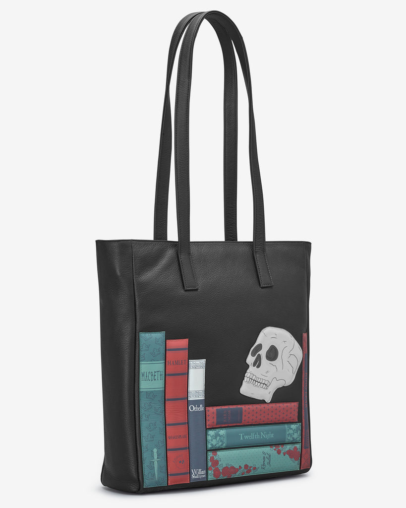Shakespeare Bookworm Black Leather Shopper Bag - Yoshi