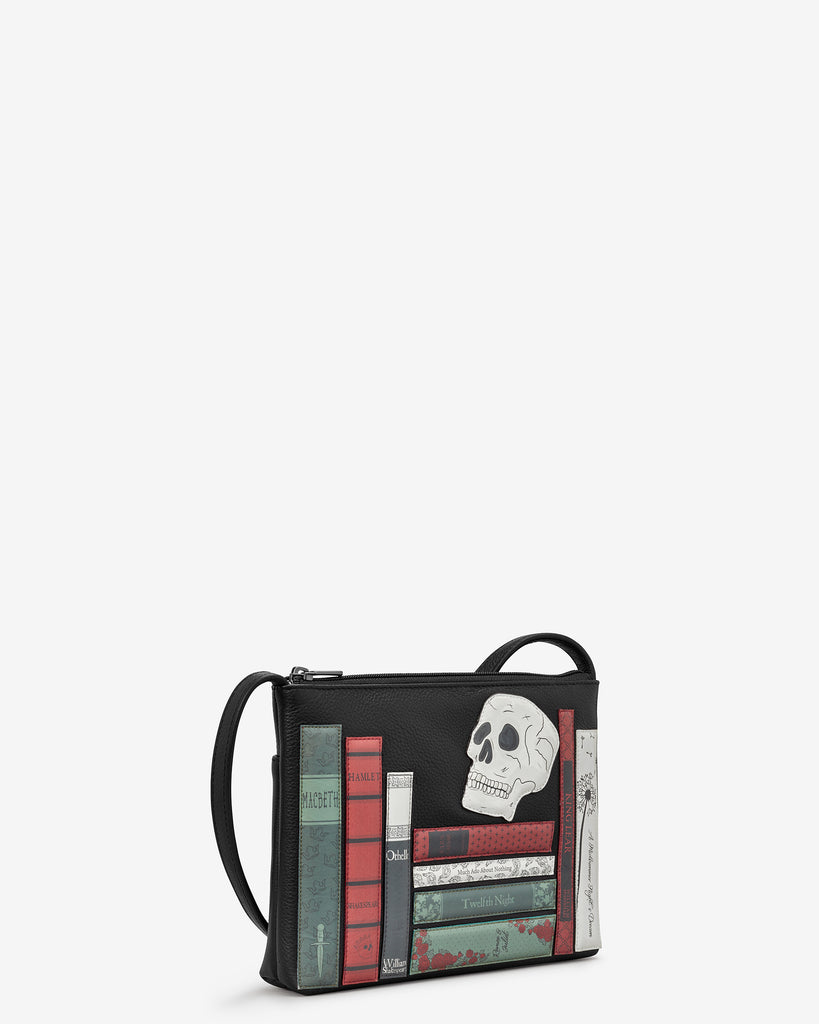Shakespeare Bookworm Black Leather Cross Body Bag - Yoshi