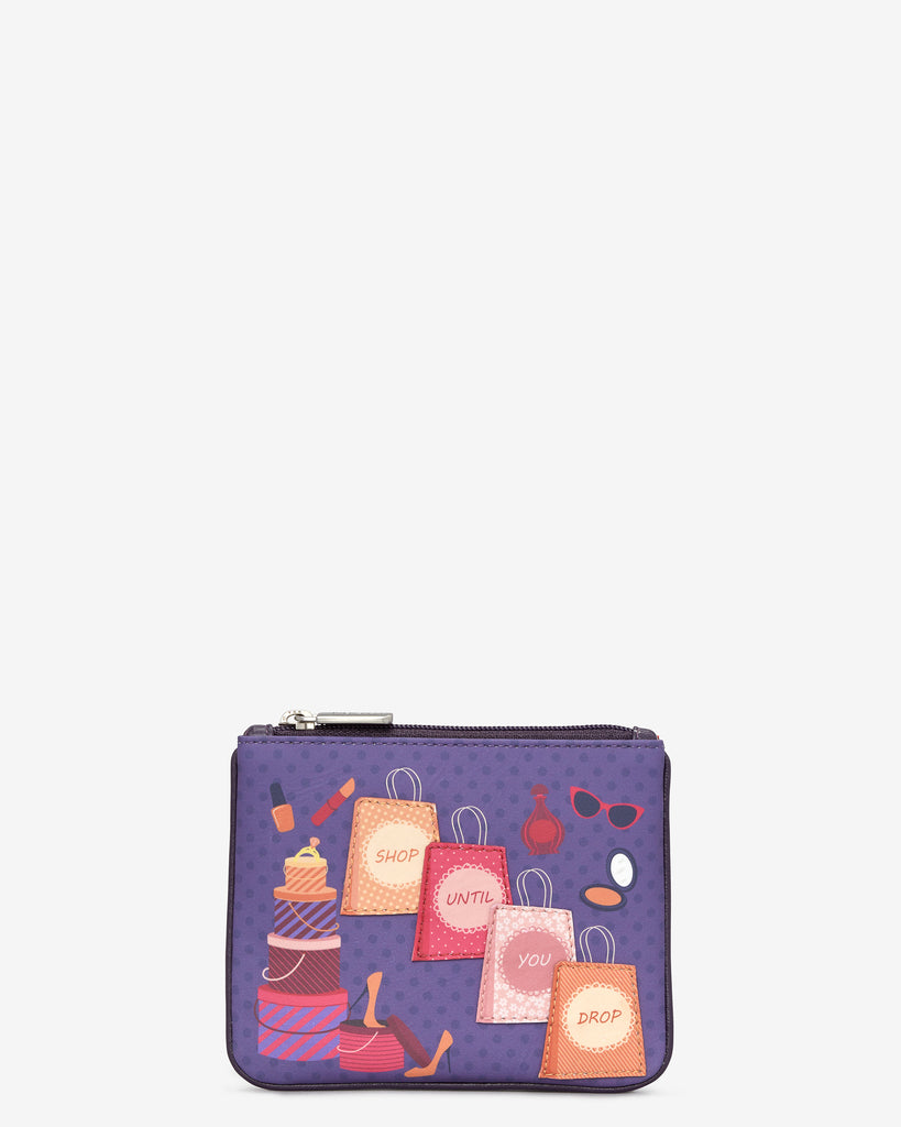 Shop Until You Drop Zip Top Leather Purse - Purple - Yoshi