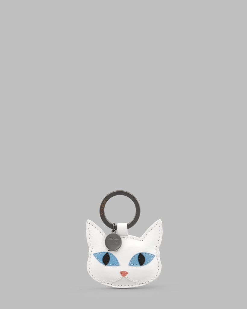 Snowy The Cat White Leather Keyring - White - Yoshi