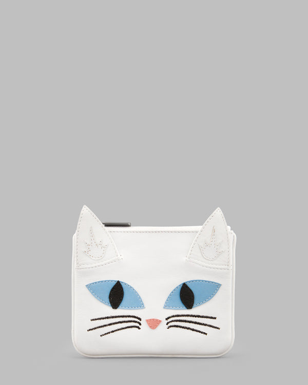 Snowy the Cat White Leather Zip Top Purse A