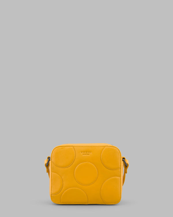 Spots and Dots Mustard Yellow Leather Cross Body Bag A