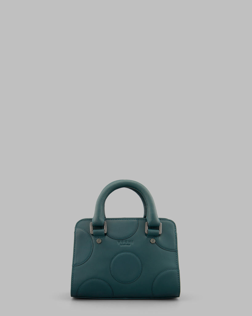 Spots And Dots Teal Leather Grab Bag - Teal - Yoshi