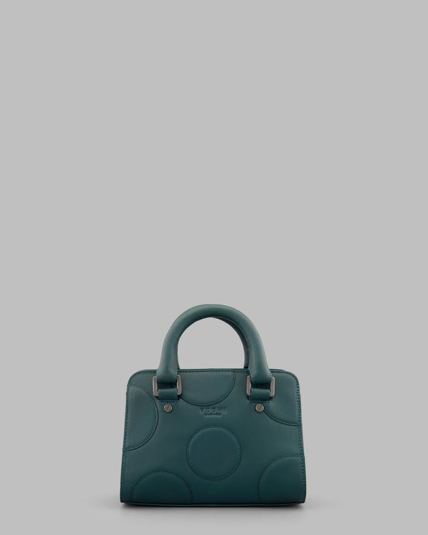 Spots and Dots Teal Leather Grab Bag A