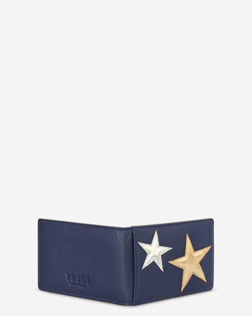 Stars Navy Leather Travel Pass Holder - Yoshi