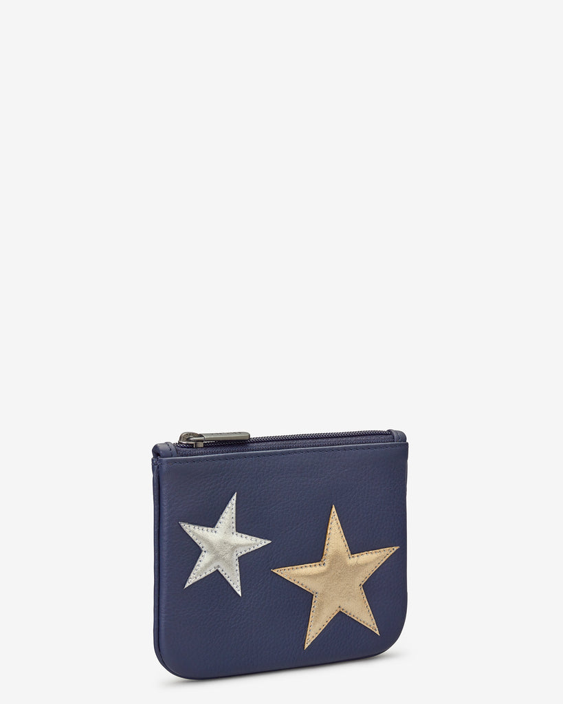 Stars Navy Leather Zip Top Purse - Yoshi