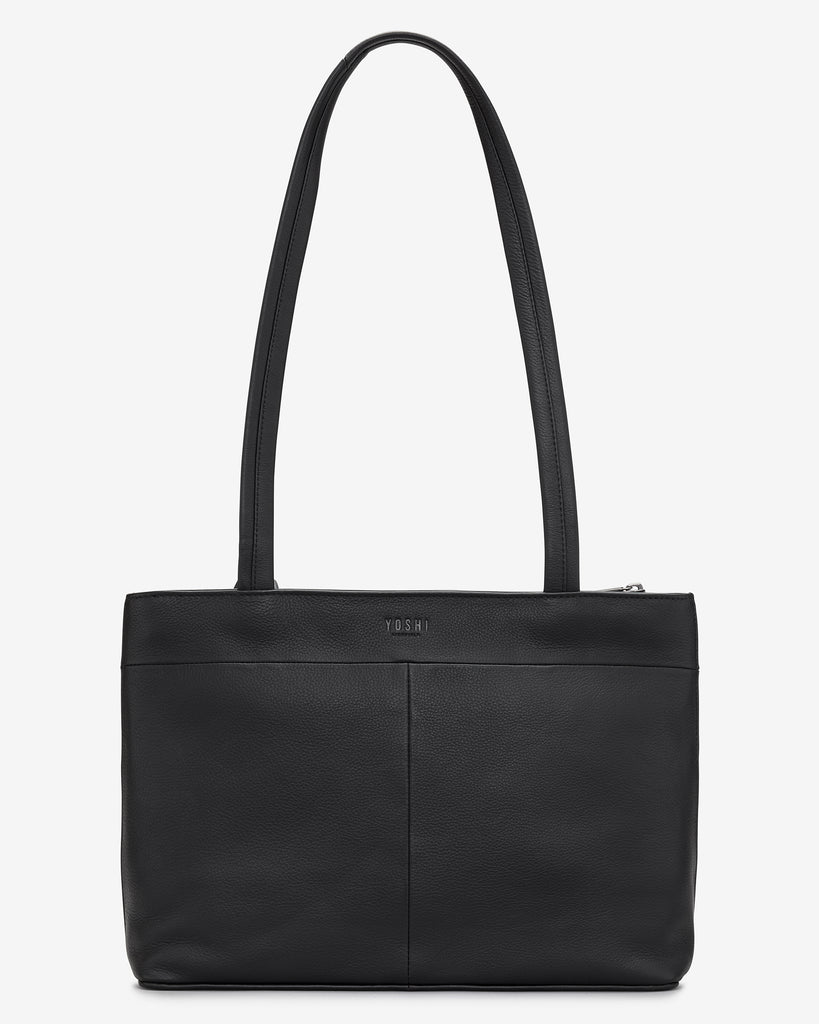Stay Cool Black Leather Shoulder Bag -  - Yoshi