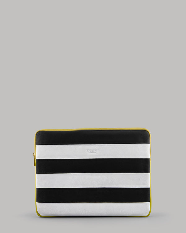 Stripe Black Leather iPad Tablet Case Yoshi A