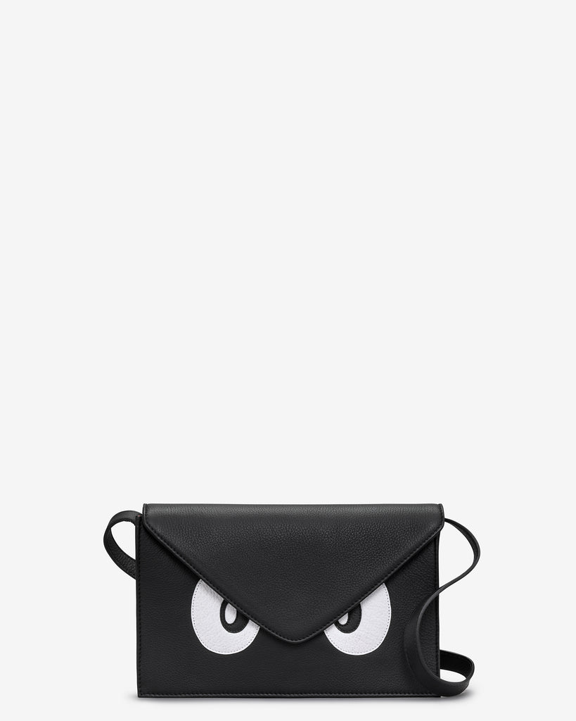 Surpr-Eyes Black Leather Cross Body Bag - Black - Yoshi