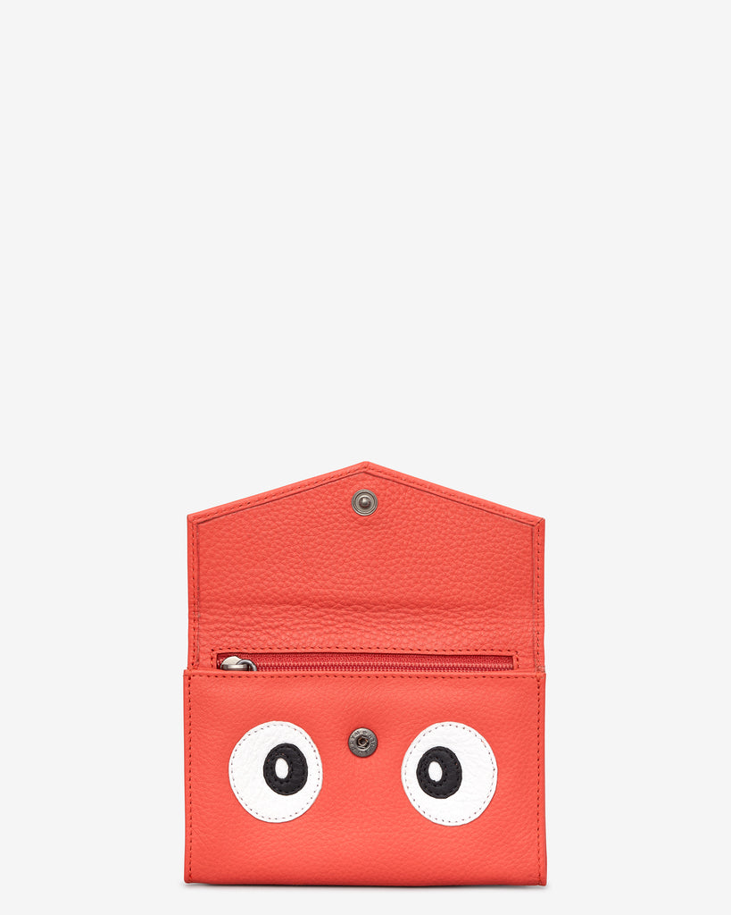 Surpr - Eyes Coral Leather Purse -  - Yoshi
