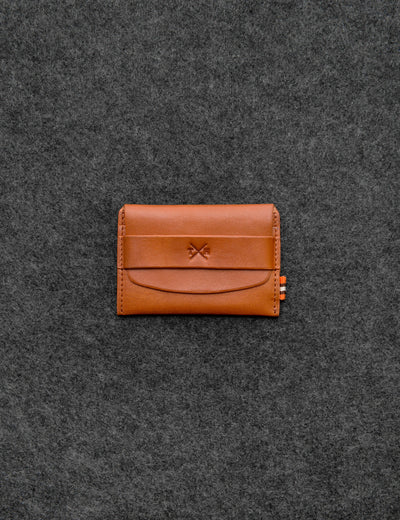 Tan Italian Tudor Leather Card Pouch - Yoshi