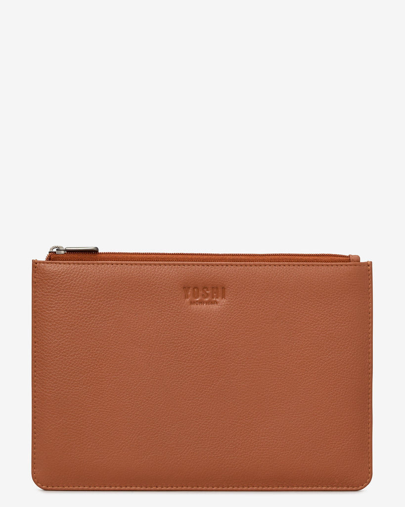 Tan Leather Brooklyn Pouch - Tan - Yoshi