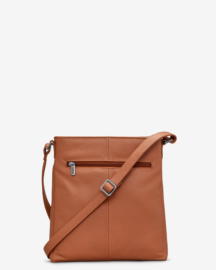 Bryant Tan Leather Cross Body Bag - Yoshi