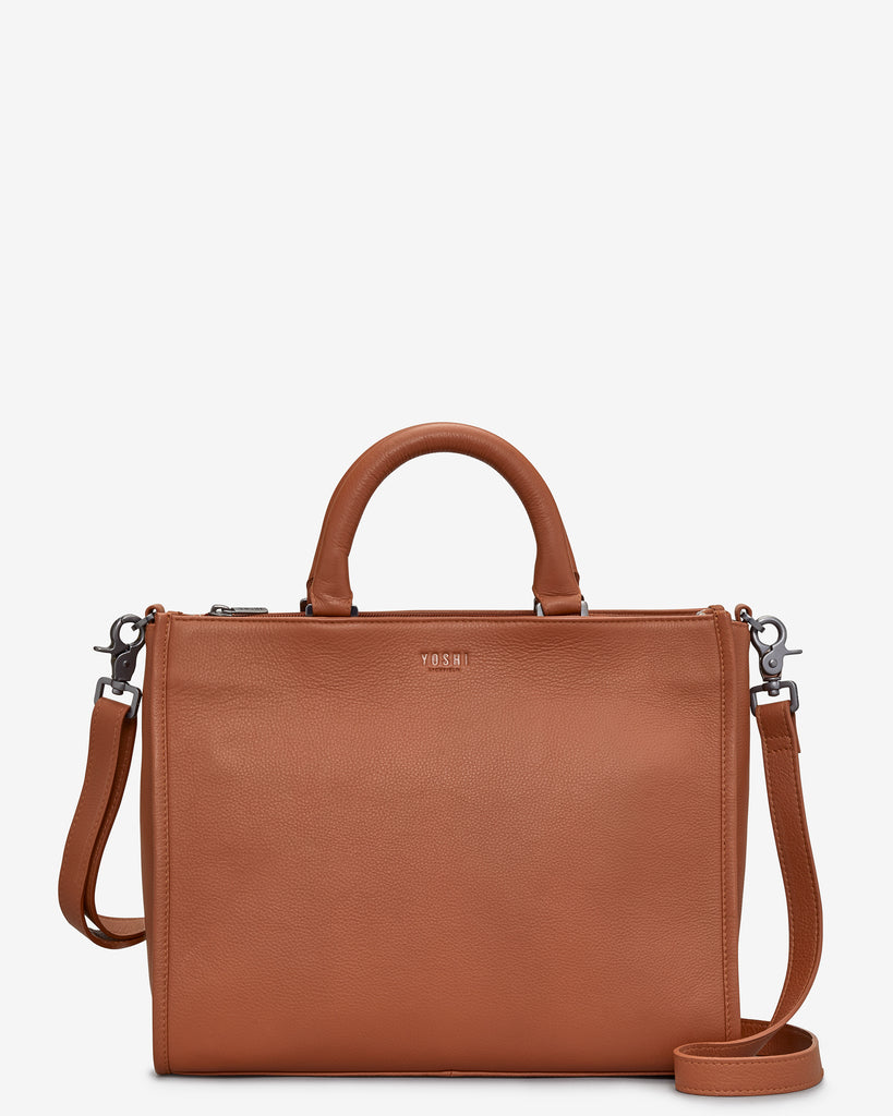 Harwood Tan Leather Tote Bag - Tan - Yoshi