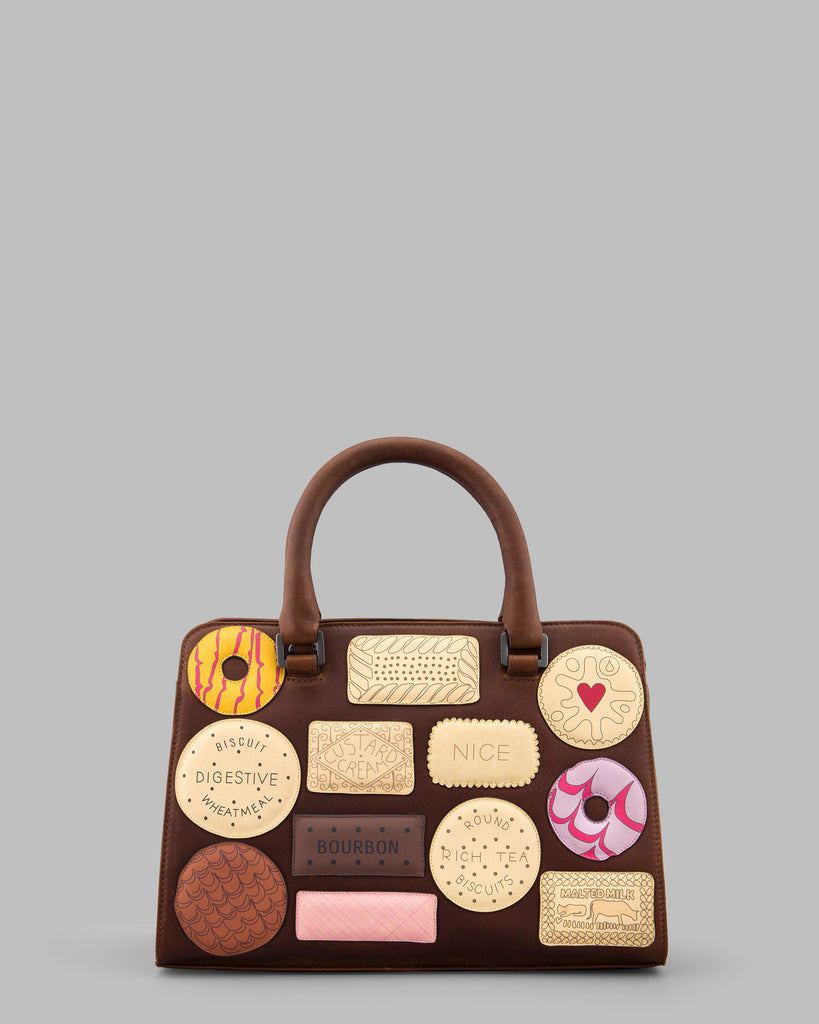 Teatime Favourites Brown Leather Tote Bag a