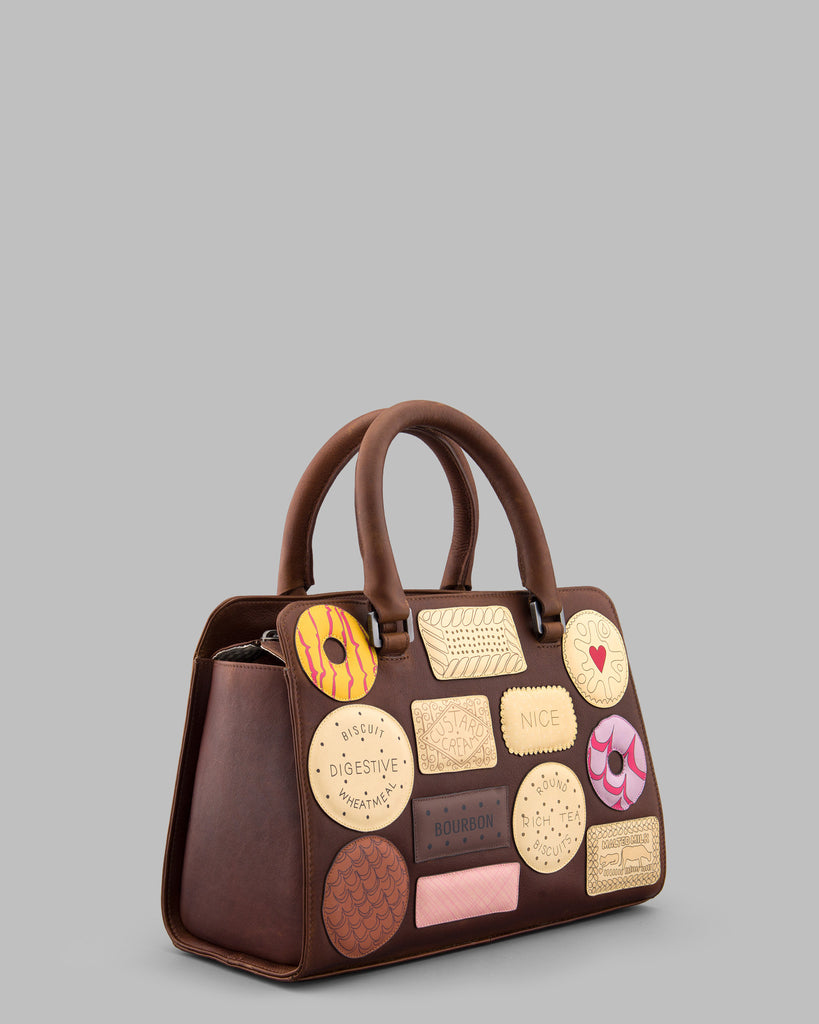 Teatime Favourites Brown Leather Tote Bag c
