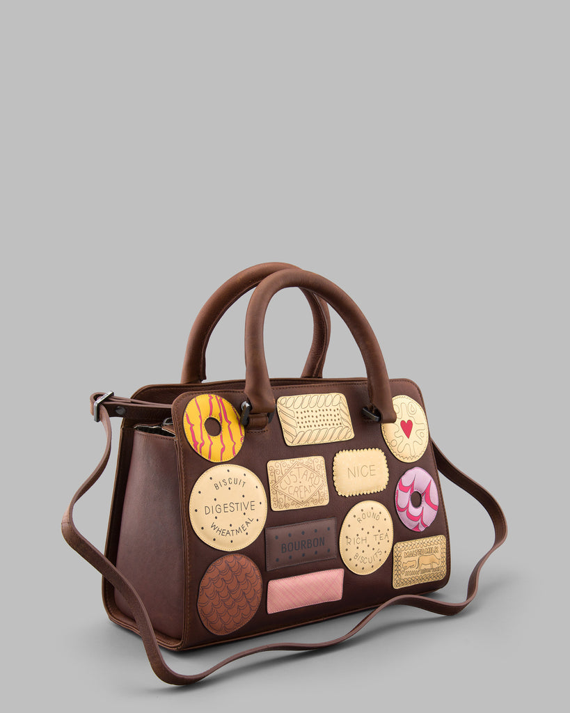 Teatime Favourites Brown Leather Tote Bag e