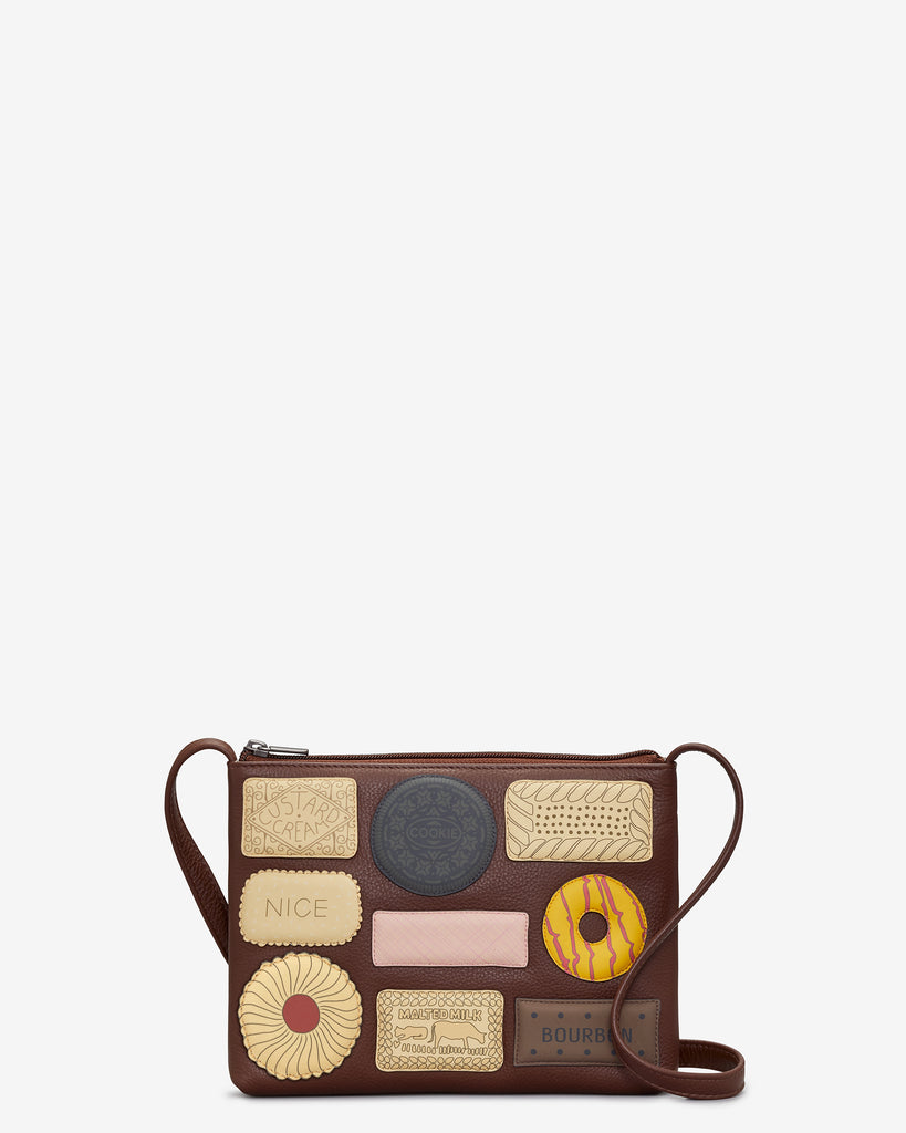 Teatime Favourites Brown Leather Cross Body Bag - Brown - Yoshi