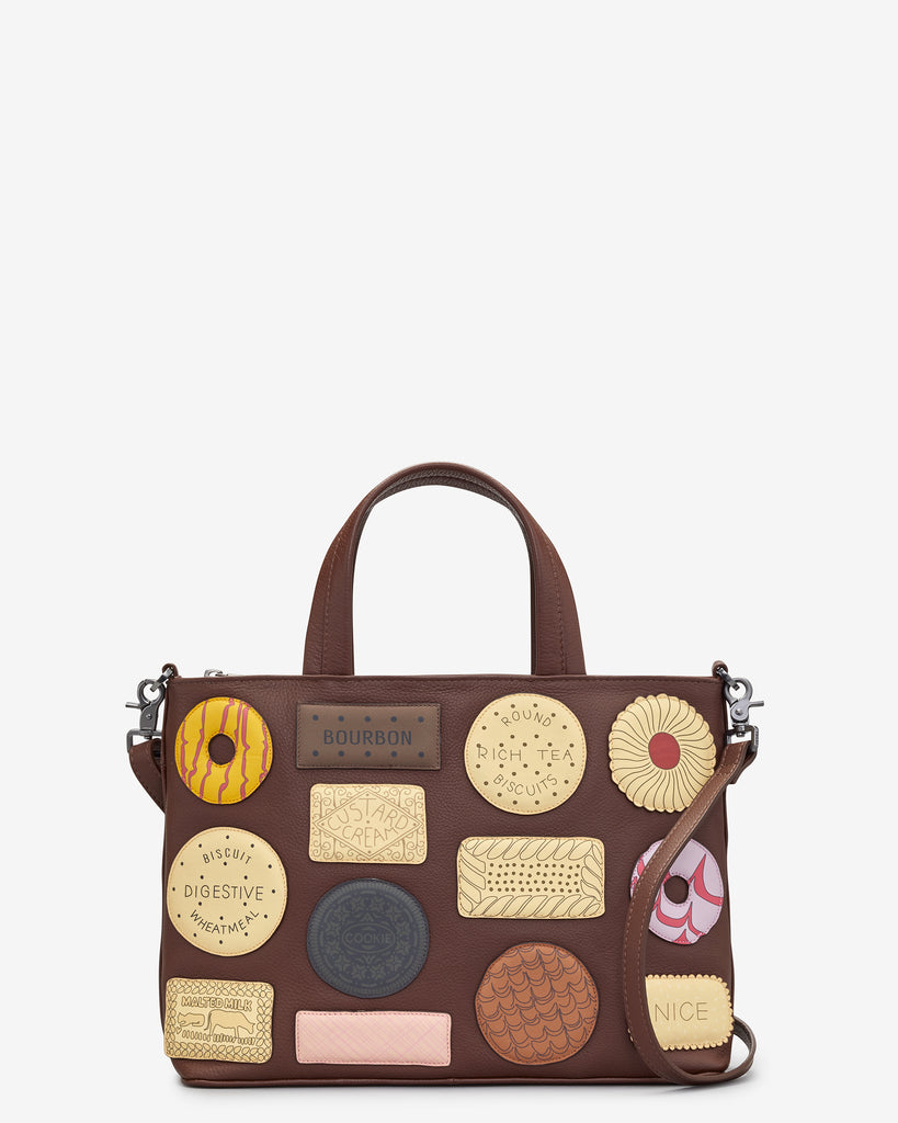 Teatime Favourites Brown Leather Multiway Grab Bag - Brown - Yoshi
