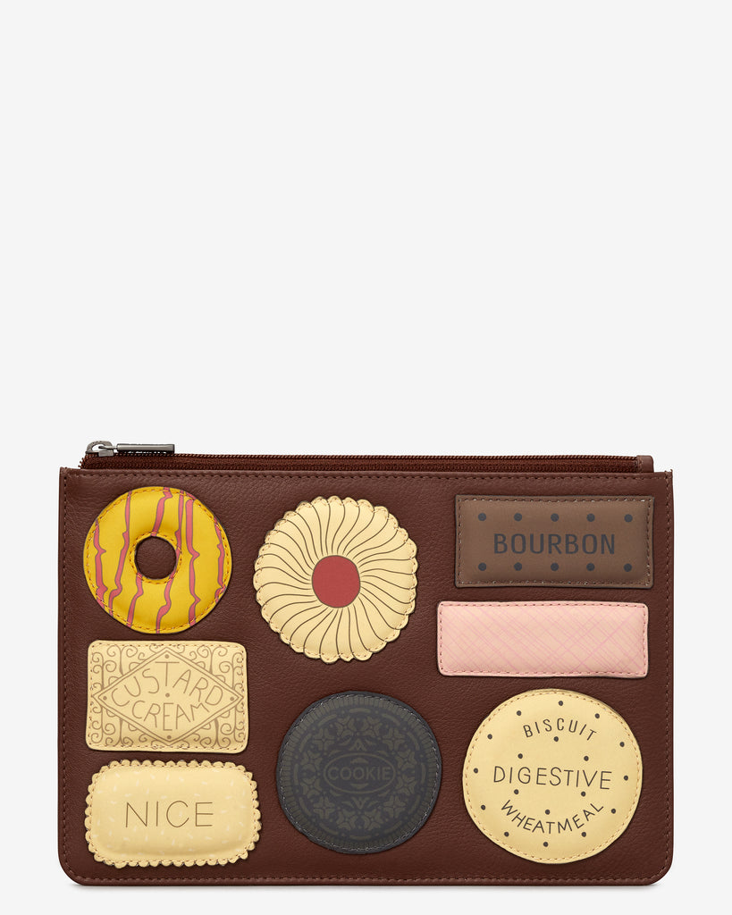 Teatime Favourites Brown Leather Brooklyn Pouch - Brown - Yoshi
