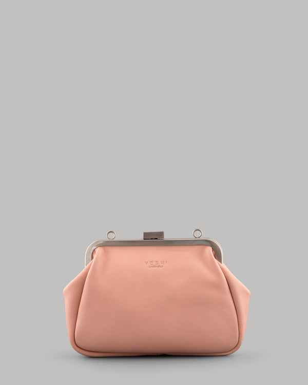 Tesla Ladies frame melba pink leather shoulder bag by yoshi