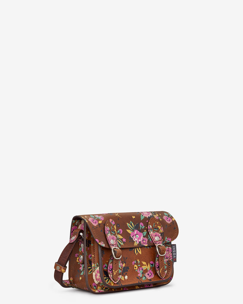 Tilney Brown Leather Floral Print Mini Satchel - Yoshi