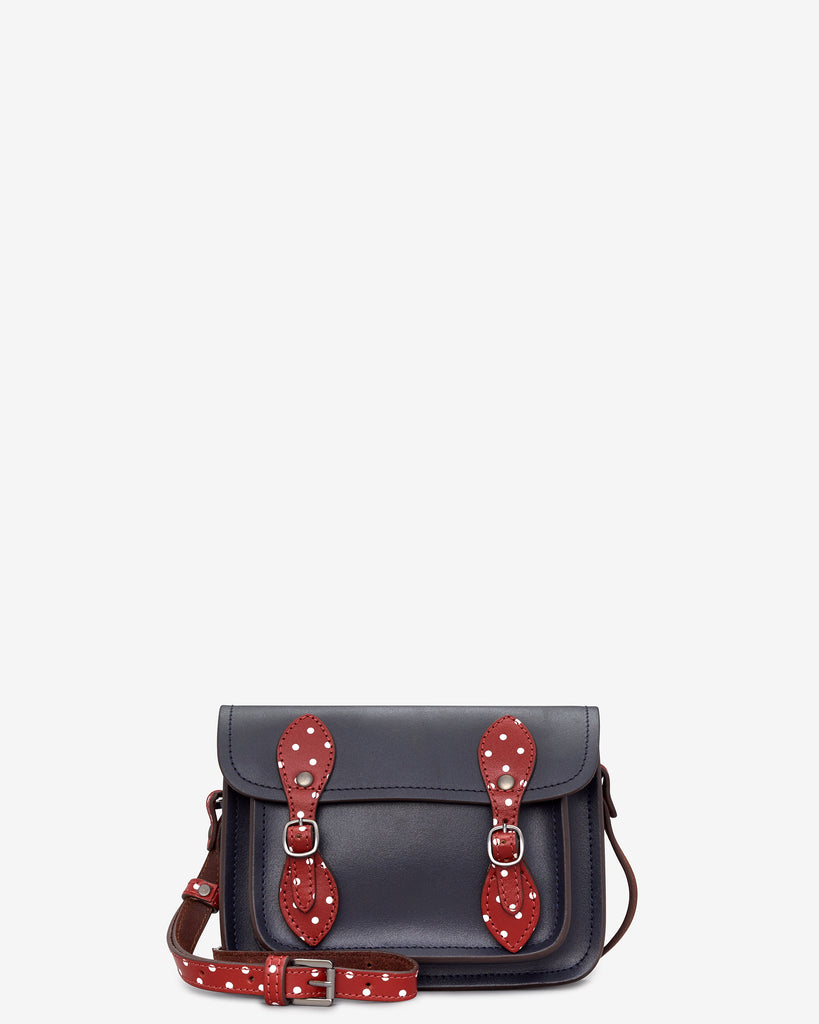 Tilney Navy Polka Leather Mini Satchel - Navy - Yoshi