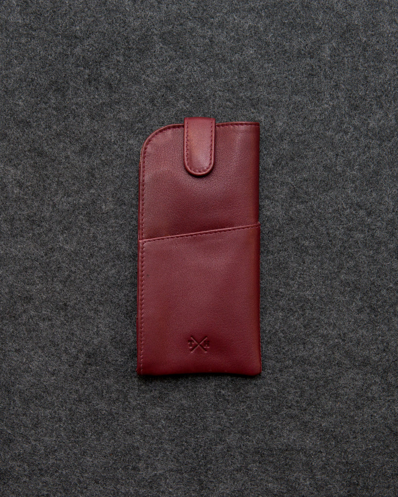 Newton Dark Red Leather Glasses Case By Tumble And Hide - Oxblood - Tumble & Hide