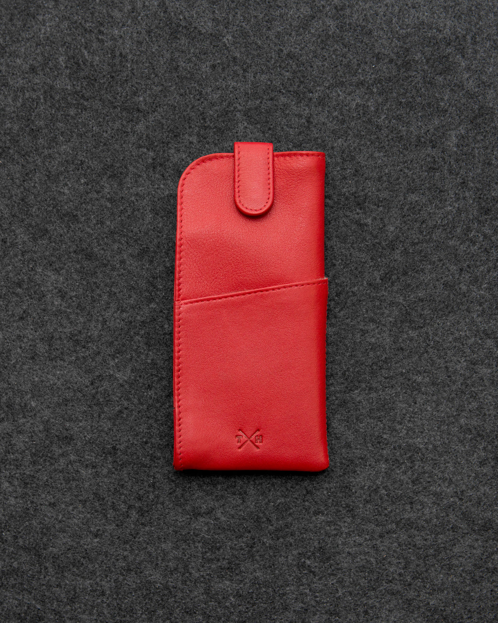 Tumble and Hide Newton Leather Glasses Case Red a