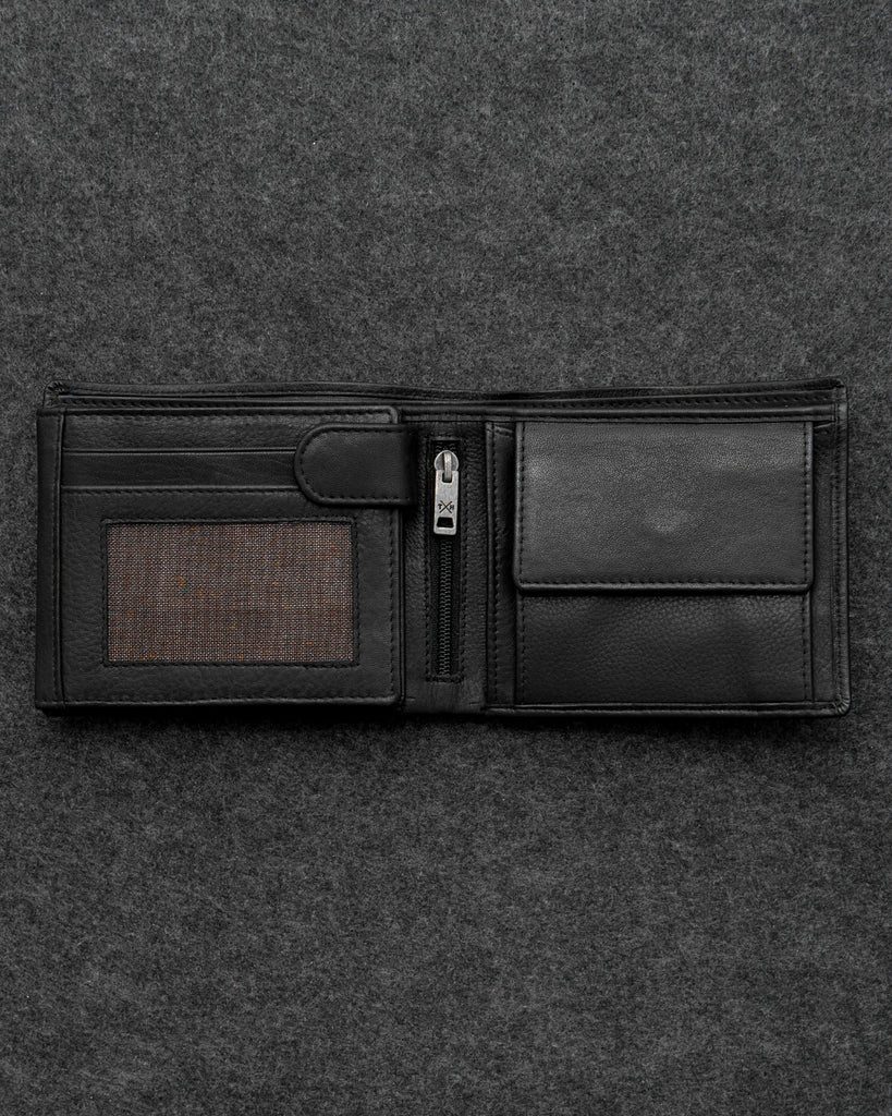Black Newton Leather Large Capacity Wallet - Black - Tumble and Hide