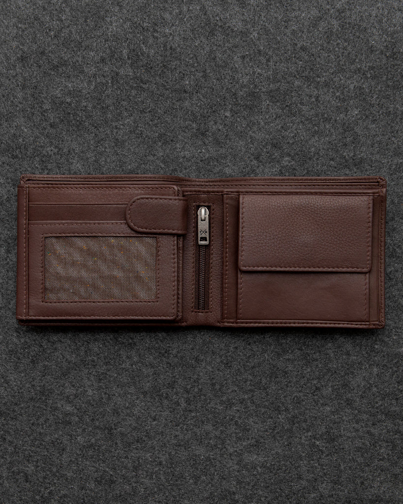 Brown Newton Leather Large Capacity Wallet - Brown - Tumble and Hide