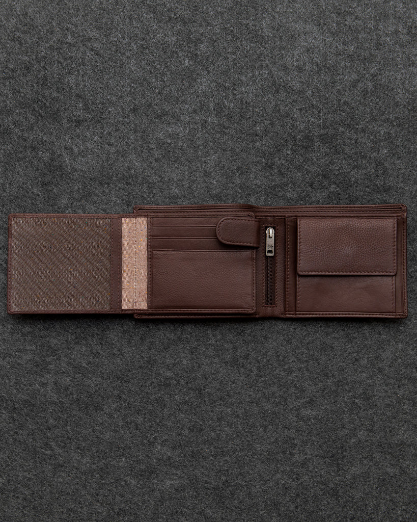 Brown Newton Leather Large Capacity Wallet -  - Tumble and Hide