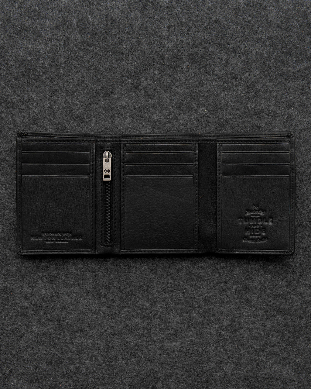 Tumble and Hide Newton Leather Three Fold Wallet Black a