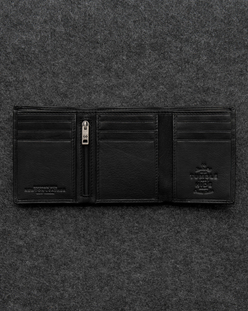 Black Newton Leather Three Fold Wallet - Black - Tumble and Hide