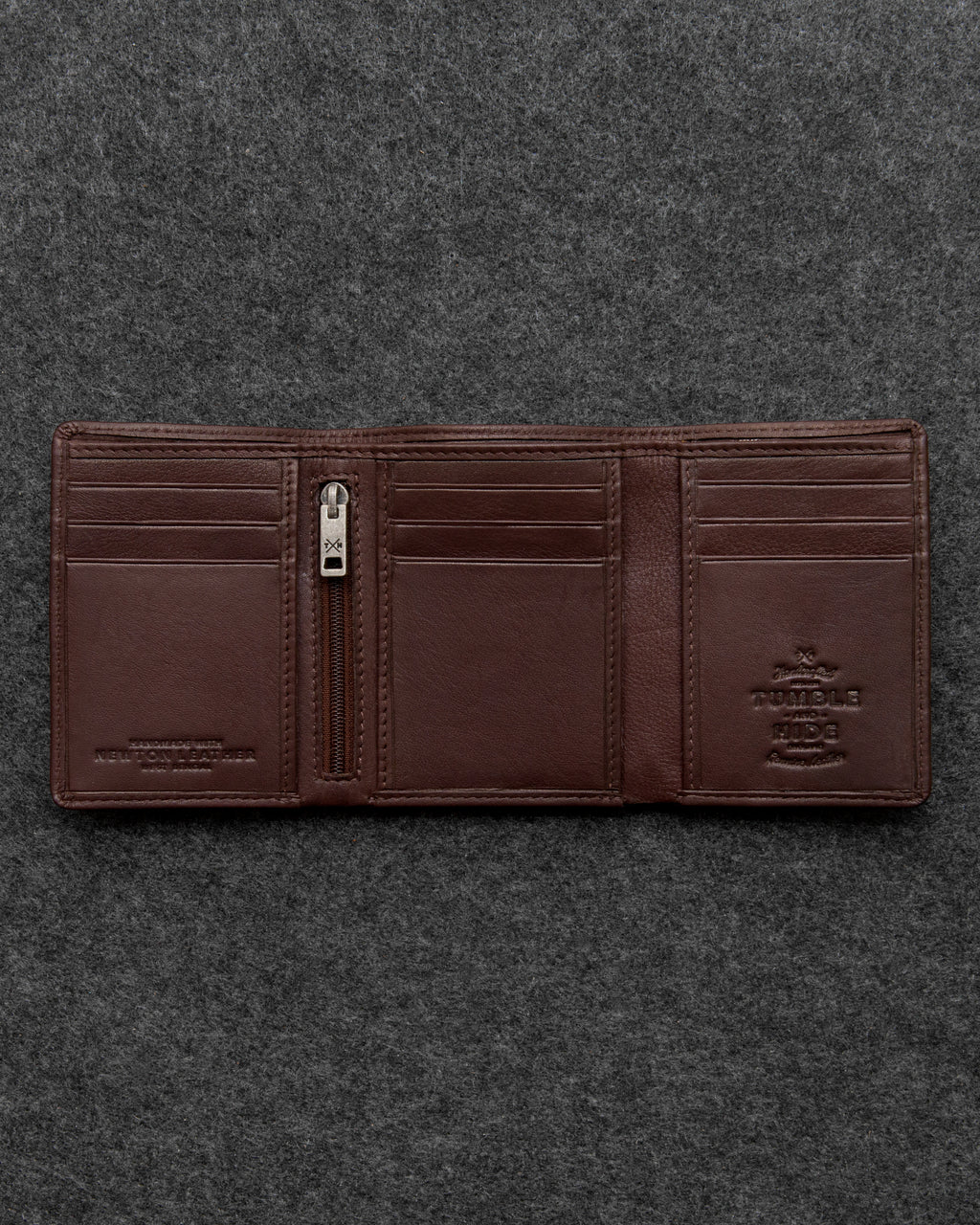 Tumble and Hide Newton Leather Three Fold Wallet Brown a