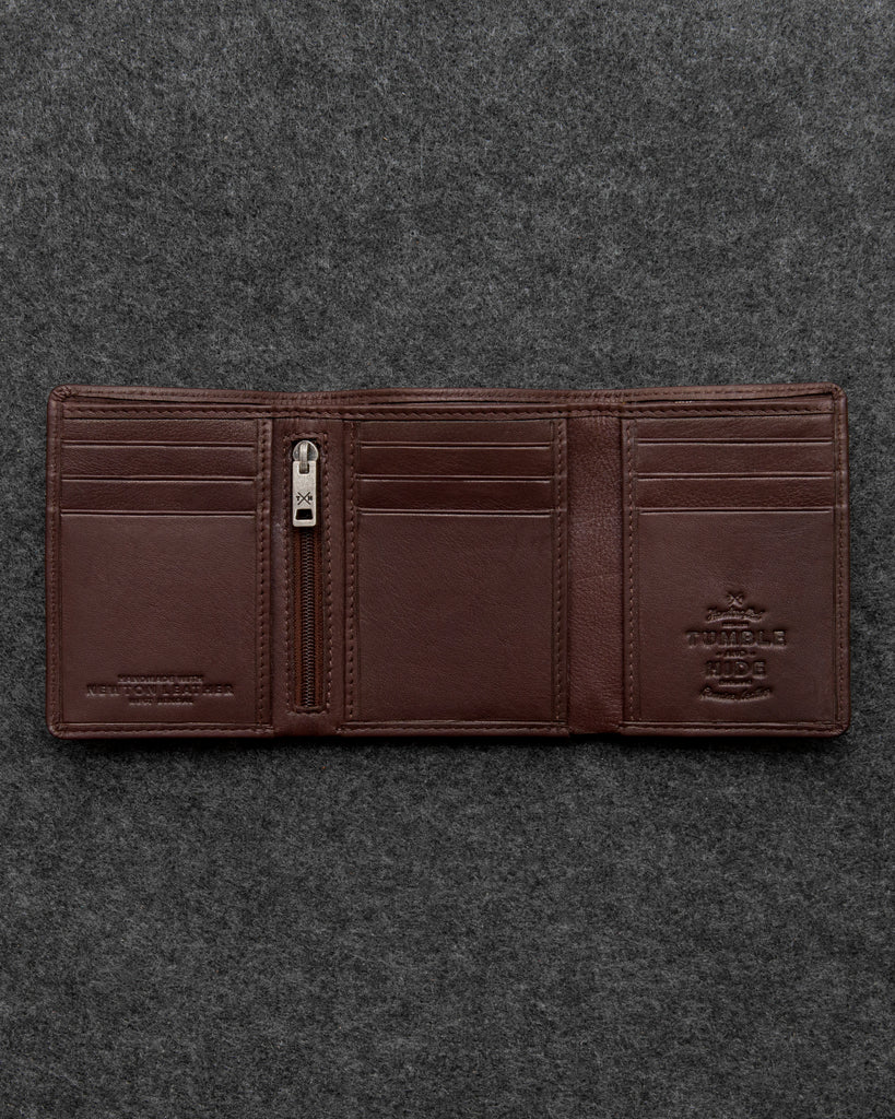 Brown Newton Leather Three Fold Wallet - Brown - Tumble and Hide
