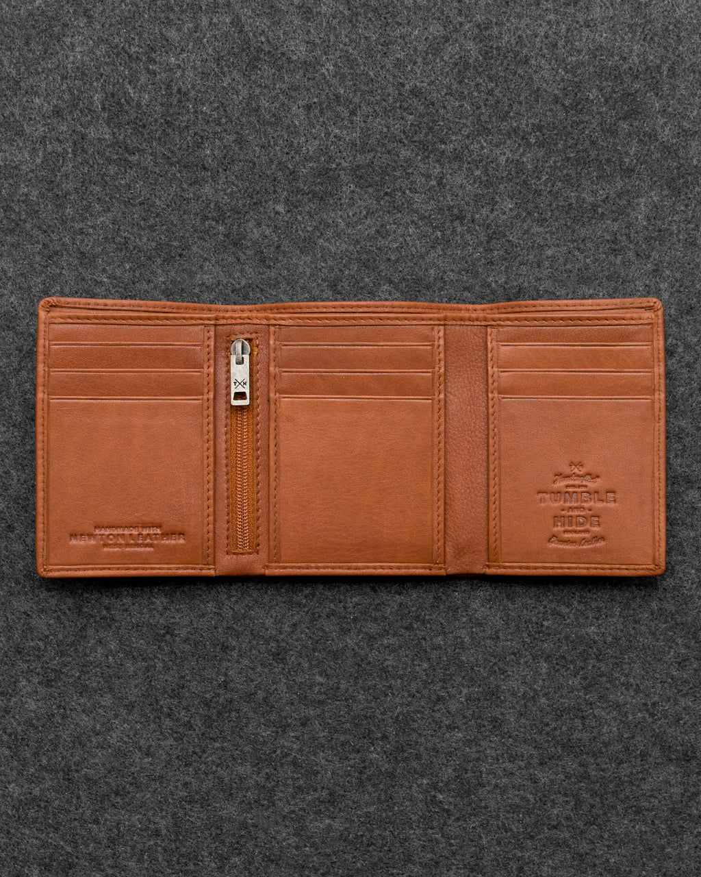 Tumble and Hide Newton Leather Three Fold Wallet Tan a